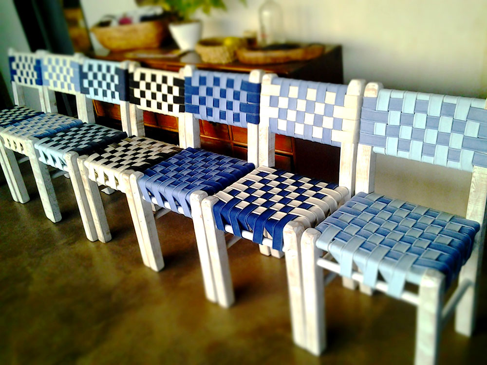 Sedia in legno e cotone