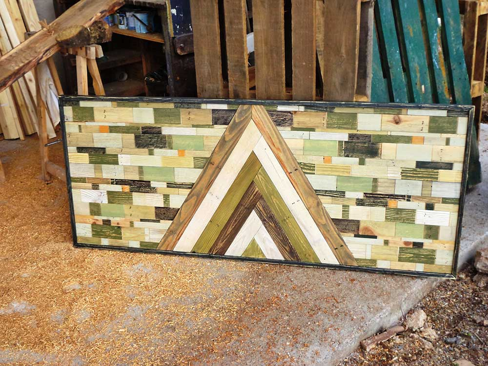 Pannello decorativo in legno di riciclo