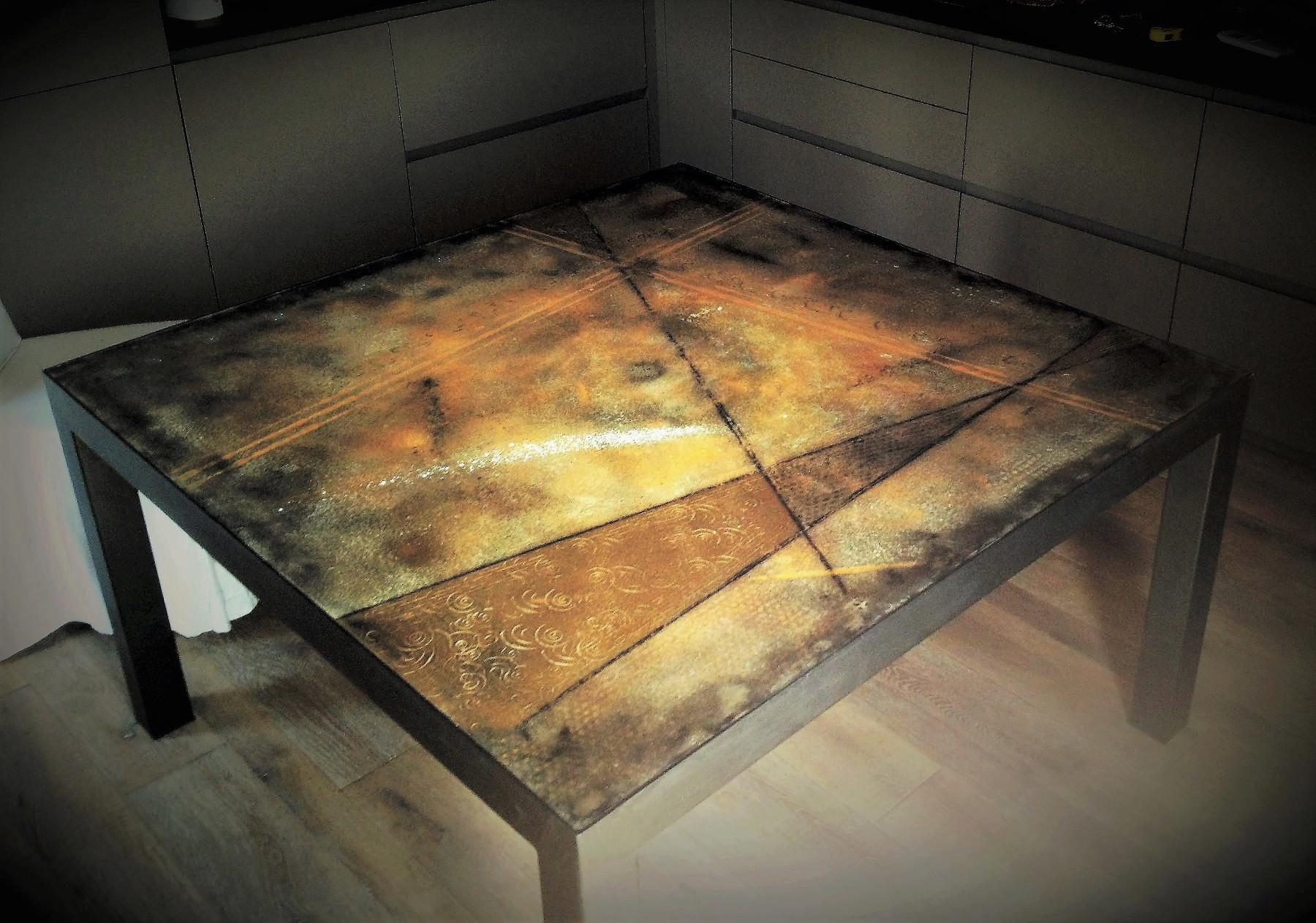 Tavolo cemento 140x140cm testadilegno - Cemento colorato per esterno ...